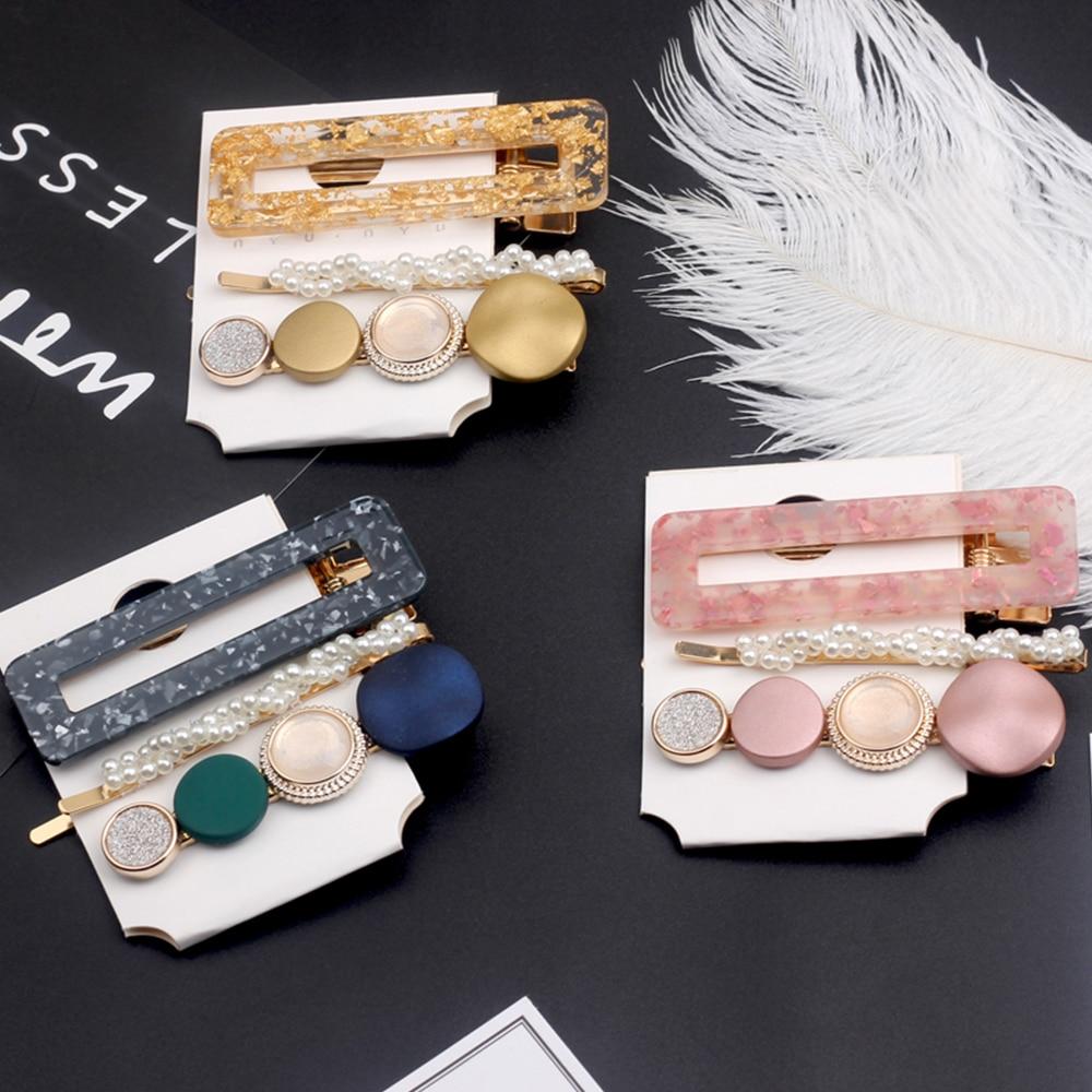 New 3PCS/Set Fashion Sweet Pearls Acetate Geometric Hair Clips For Women Girls Headband Hairpins Barrettes Hair Accessories Set