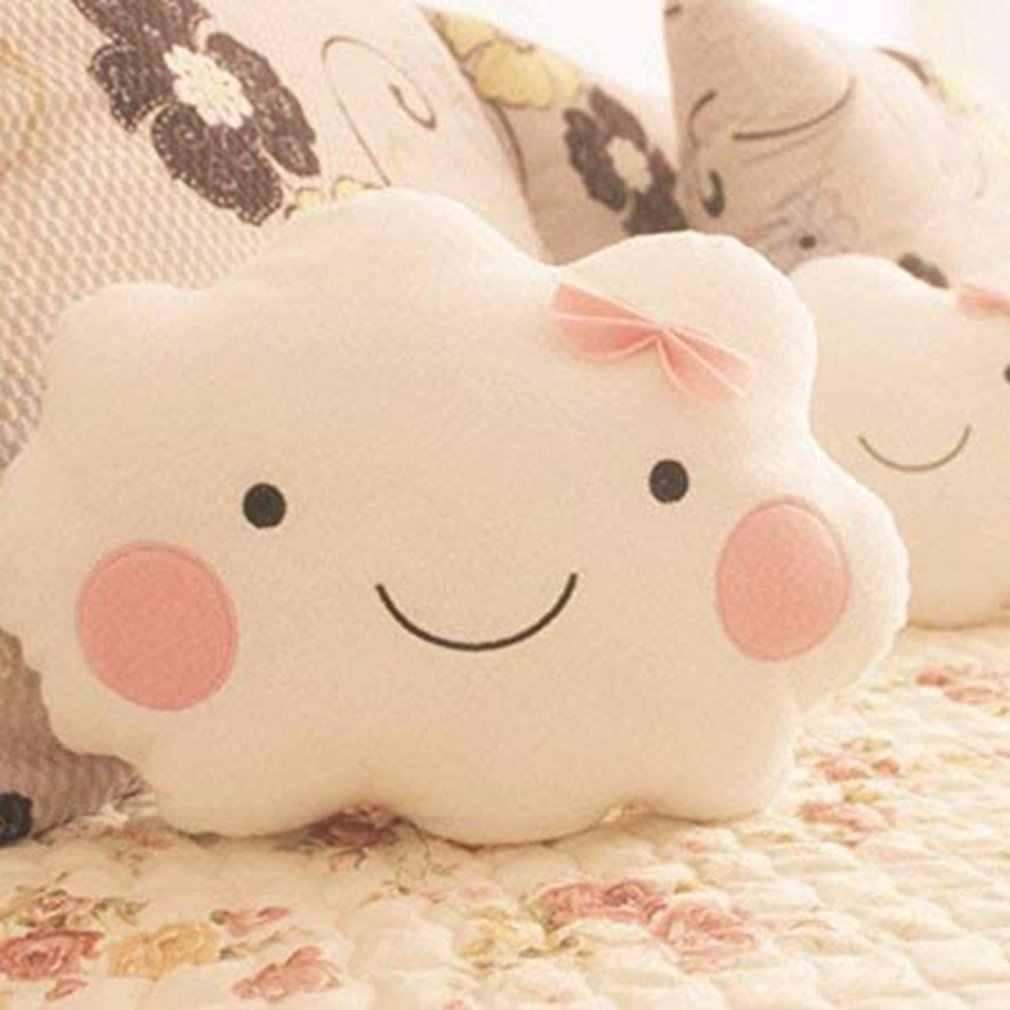 Novo grande nuvem dos desenhos animados travesseiro de pelúcia super macio almofada lovey sorriso nuvem recheado brinquedos de pelúcia para crianças do bebê crianças presente da menina