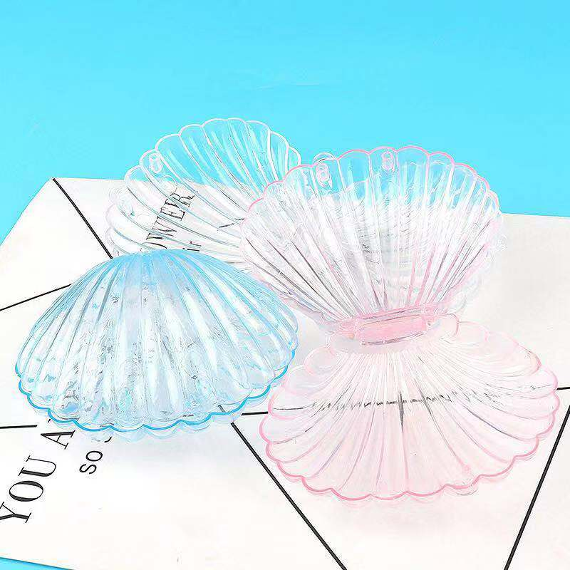 Transparent Seashell Shape Jewelry Storage Organizer Case Wedding Engagement Necklace Bracelet Jewelry Display Holder Box