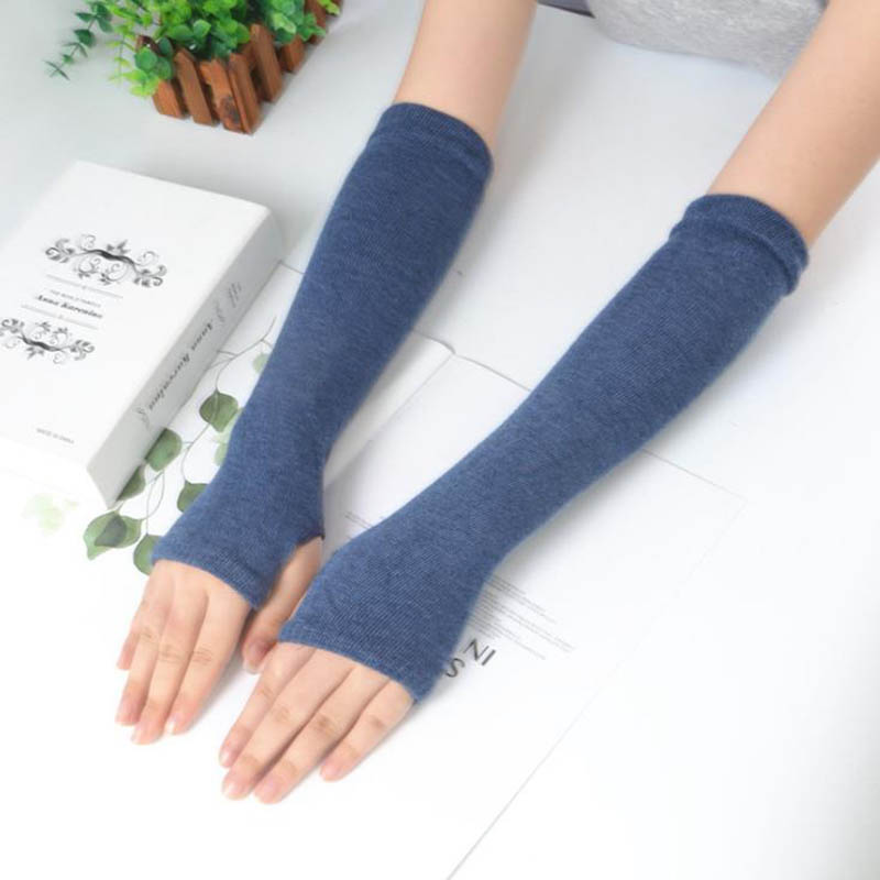 Calymel Fashion Winter Long Section Of Wool Fingerless Gloves Sleeves Knitted Arm Warmers Cotten Mittens