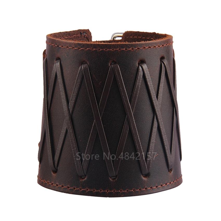 Bracelet en cuir véritable médiéval Viking réglable 2