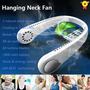 USB Rechargeable Xaomi Air Cooler Mini Electric Air Conditioner Portable Sport Outdoor Hanging Dual Wind Head Neck Cooling Fan