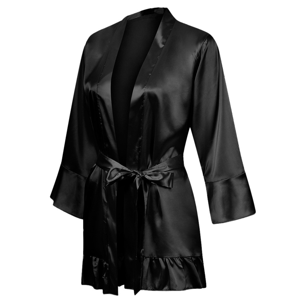 Women's Silk Satin Robe Wedding Kimono Bathrobe Sleepwear Short Sleeve Pajamas Sexy Nightgowns #T2G