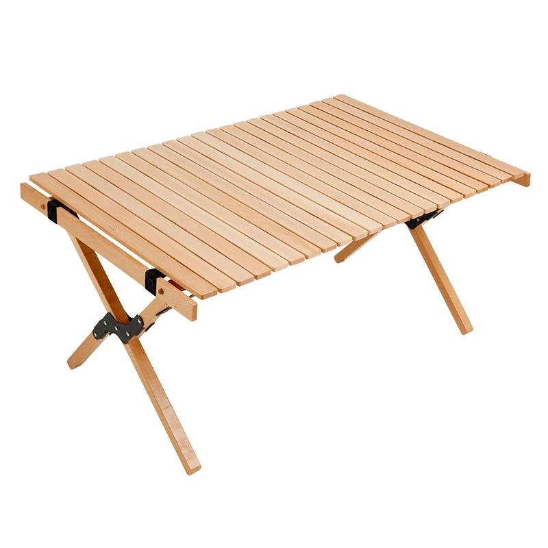 Wooden Folding Table Outdoor Compact Table Fold Up Roll Out Top For Picnic Camping Beach Barbecue Foldable Outdoor Furniture