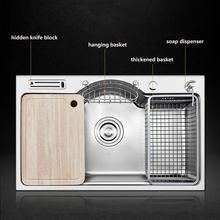 Pia de cozinha em aço inoxidável, espessura de 1.2mm, pias escovadas, multifuncionais, única tigela, balcão ou com fixação