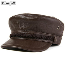 XdanqinX Mens Flat Cap Cowhide Army Military Hats Genuine Leather Hat Autumn Youth Student Tongue Elegant Women