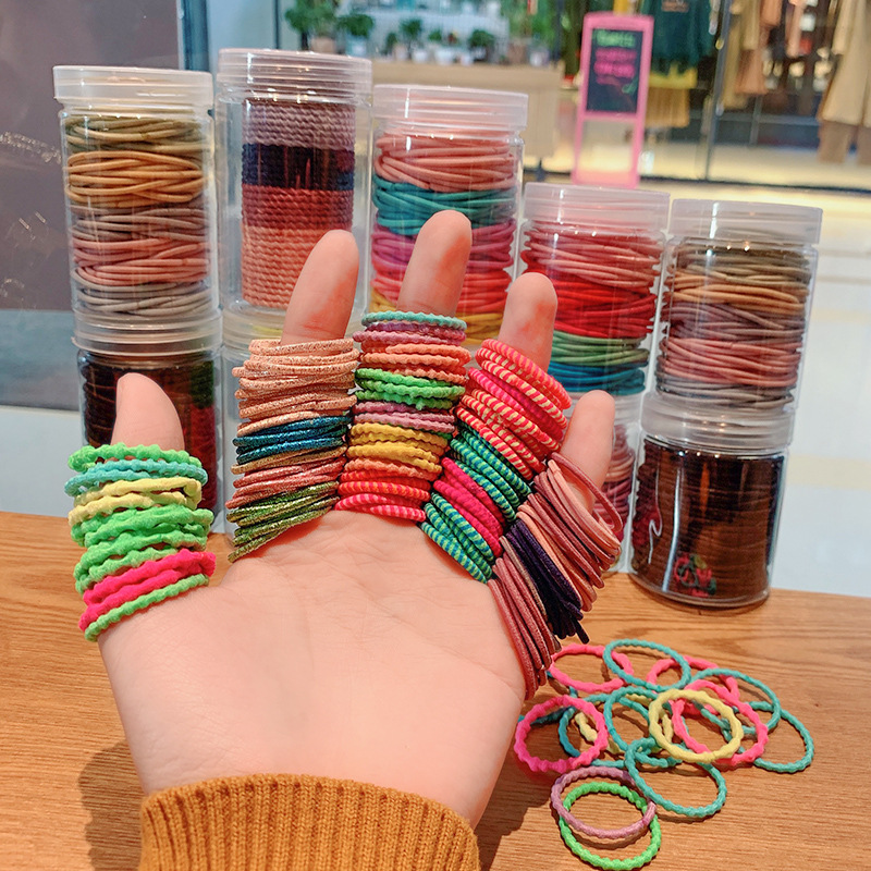 UNTAMED 100pcs/lot Kids Baby Basic Elastic Hair Bands for Girls Scrunchies Ponytail Holders Women Gum Tie Ropes Hair Accessories