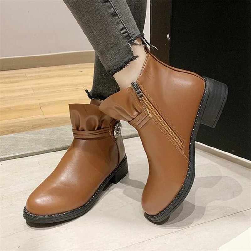 LZJ Kadın yarım çizmeler 2019 Sonbahar Kadın rahat ayakkabılar Kadın Düz Moda Yuvarlak Ayak fermuar Katı Rahat bayan botları