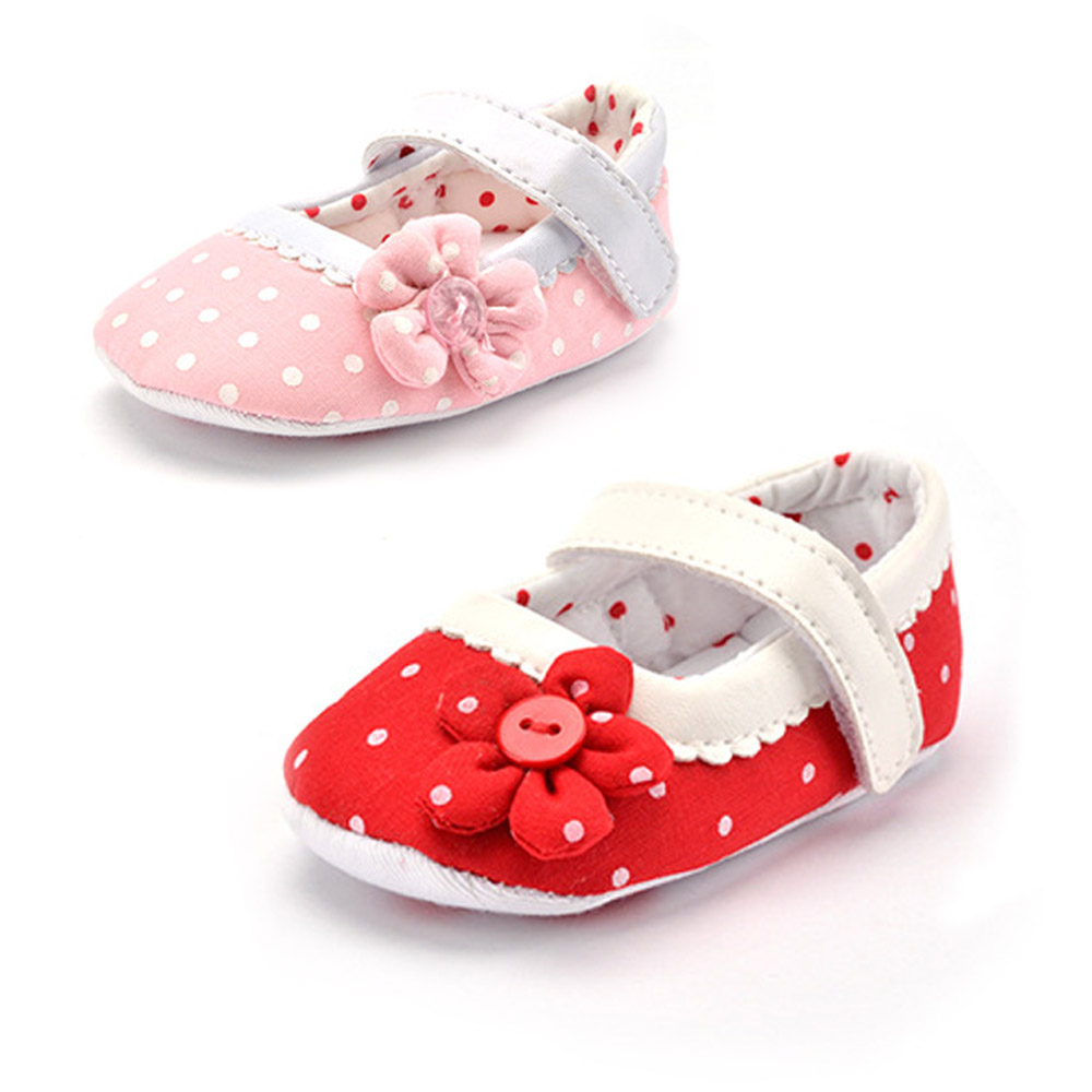 Baby Shoes Girl Toddler Infant New Cotton Fabric Soft Sole Polka Dot Outdoor Walking Shoes Prewalker Baby Crib Shoes Pink Heart