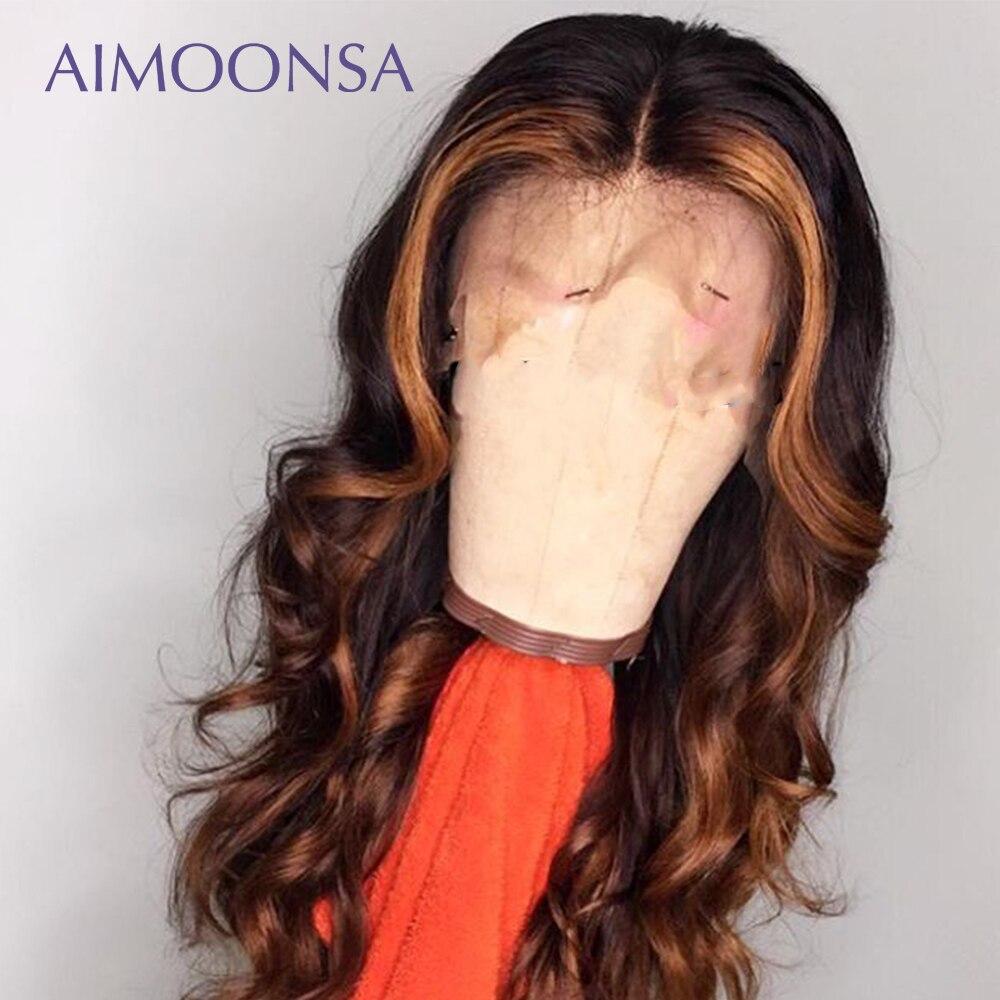 Peluca de pelo humano de Ombre Peluca de onda del cuerpo 360 peluca Frontal de encaje pelo de colores nudos invisibles Peluca de pelo largo Natural Hiarline