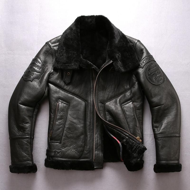 Real Fur Coat Winter Men Clothes 2020 100% Genuine Leather Jacket Sheep Shearling Bomber Jacket Sheepskin Coat Hiver 8001