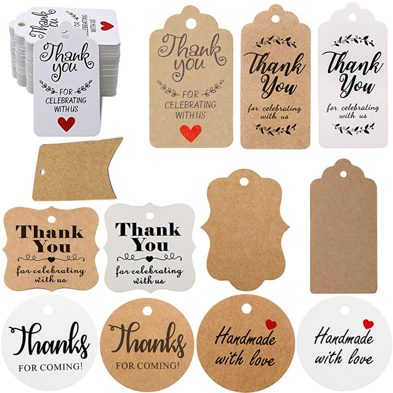 100Pcs Thank You Tags Celebrating With Us Thanks For Coming  Handmade With Love Gift Tags Cards For Wedding Favors Blank Hangtag