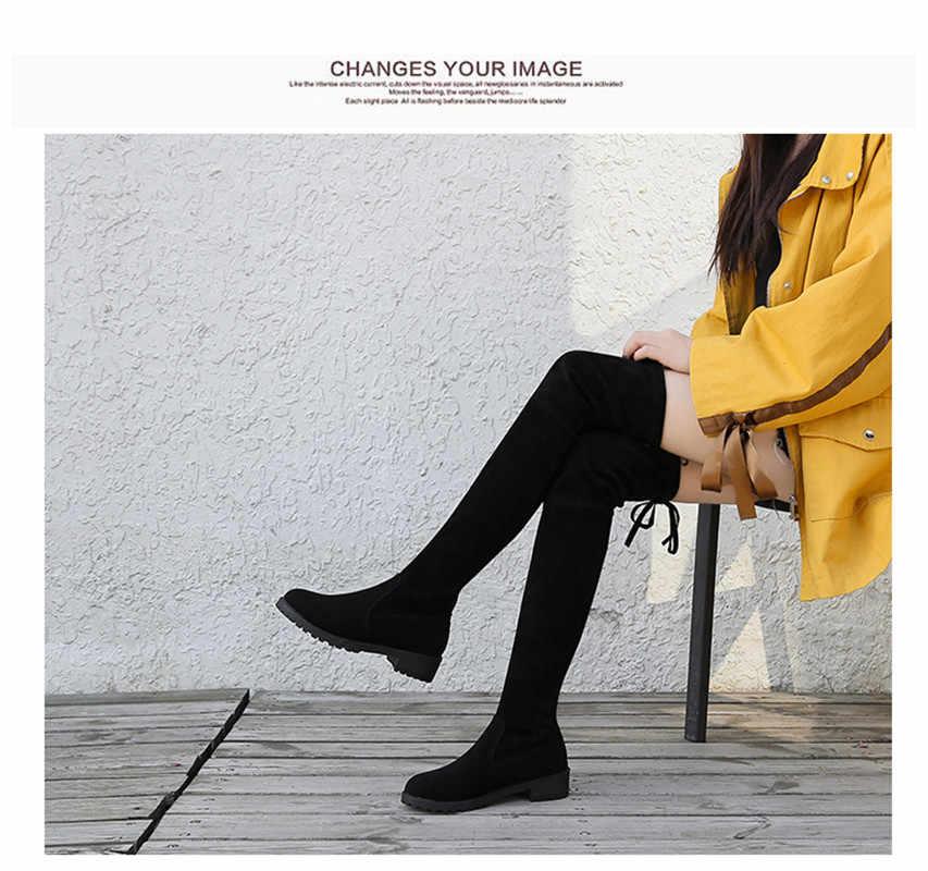 חורף מעל הברך מגפי נשים למתוח בד ירך גבוהה סקסי אישה נעלי ארוך בוטה Feminina Zapatos De Mujer גודל 35-41