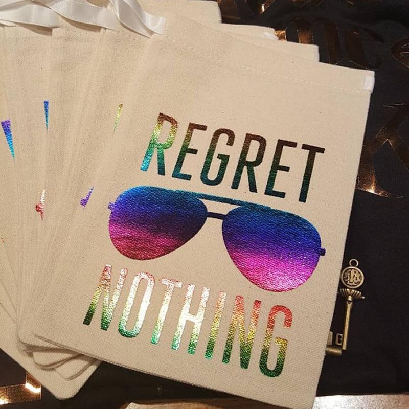 Bachelorette Bridal Shower Gift Bag Personalise Rainbow Regret Nothing Hangovers Bag Wedding Birthday Favor Bag Recovery Kit Bag