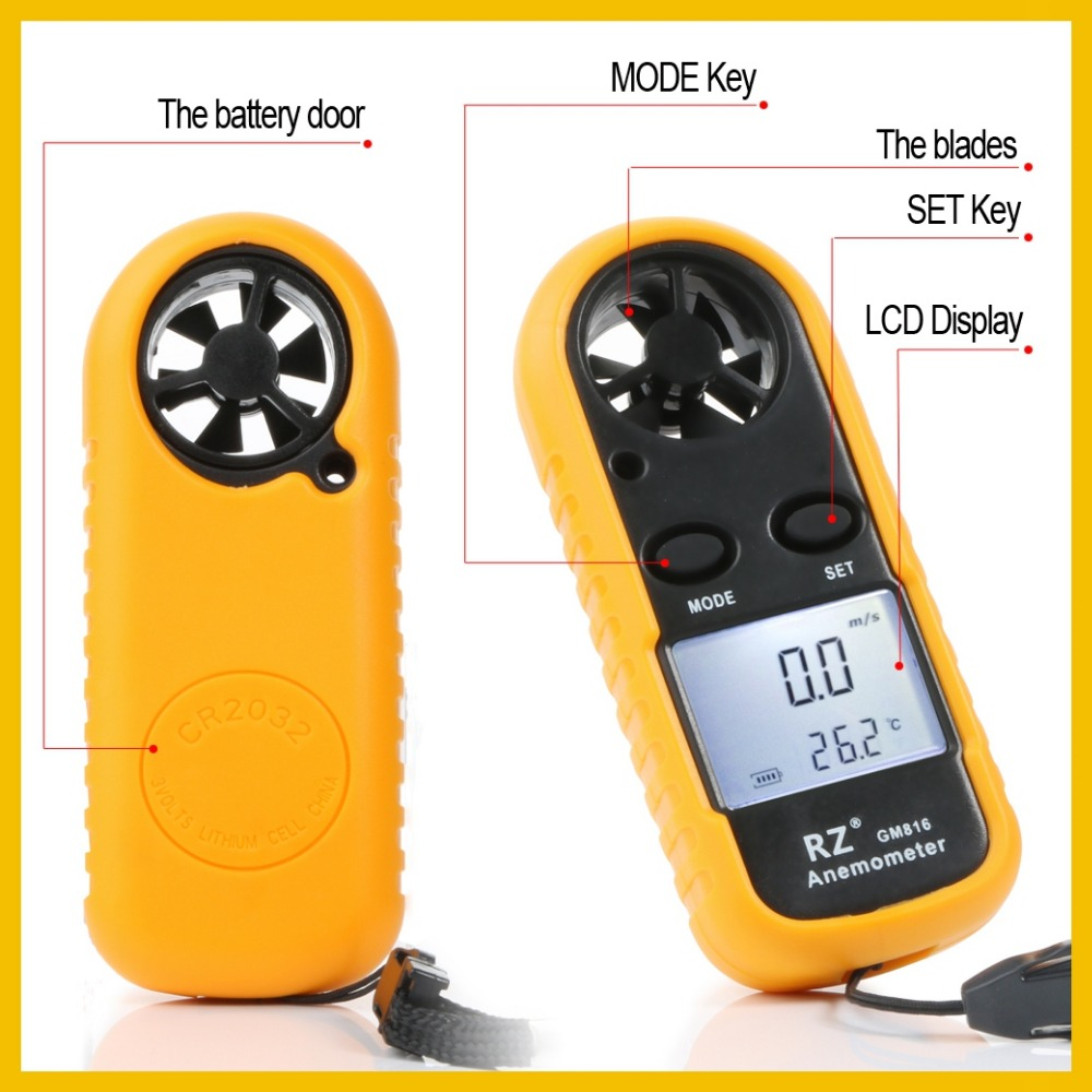 Image 4 - RZ Anemometer Portable Anemometro Thermometer GM816 Wind Speed Gauge Meter Windmeter 30m/s LCD Digital Hand held Anemometer-in Speed Measuring Instruments from Tools
