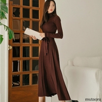 2019 Winter Latest style Women's Knitted Cashmere Wool Long Dress Red wine Turtleneck Bow tue up Pleated Sweater Dress