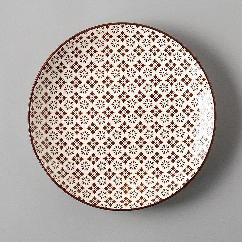 Креативный японский стиль 8 керамическая тарелка дюймовая посуда для завтрака говядины десертное блюдо для закусок простое мелкое блюдо домашнее блюдо для стейков - Цвет: 18
