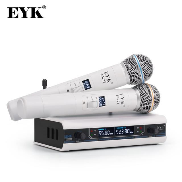 EYK E3002 UHF 2 Channel Dual Metal Handheld Mic Transmitter with MUTE Function Professional Karaoke Wireless Microphone System