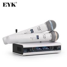 EYK E3002 المهنية UHF كاريوكي ميكروفون لاسلكي نظام طويل المدى المزدوج المعادن المحمولة هيئة التصنيع العسكري الارسال مع وظيفة كتم الصوت