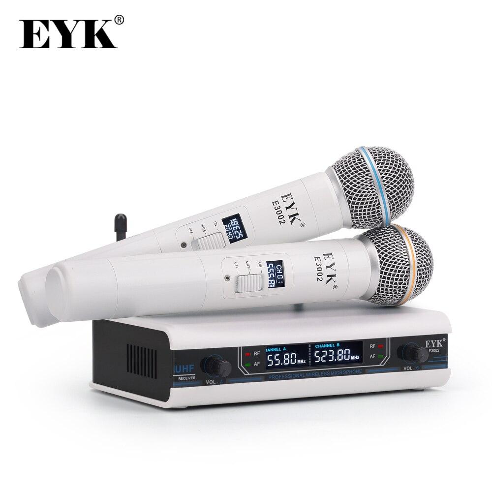 EYK E3002 professionnel système de Microphone sans fil karaoké UHF longue portée double émetteur de micro portable en métal avec fonction muet