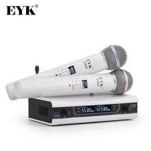 EYK E3002 profesyonel UHF Karaoke kablosuz mikrofon sistemi uzun menzilli çift Metal el mikrofon verici sessiz fonksiyonu ile