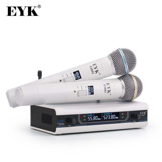 Eyk E3002 Professionele Uhf Karaoke Draadloze Microfoon Systeem Lange Range Dual Metalen Handheld Mic Zender Met Mute Functie