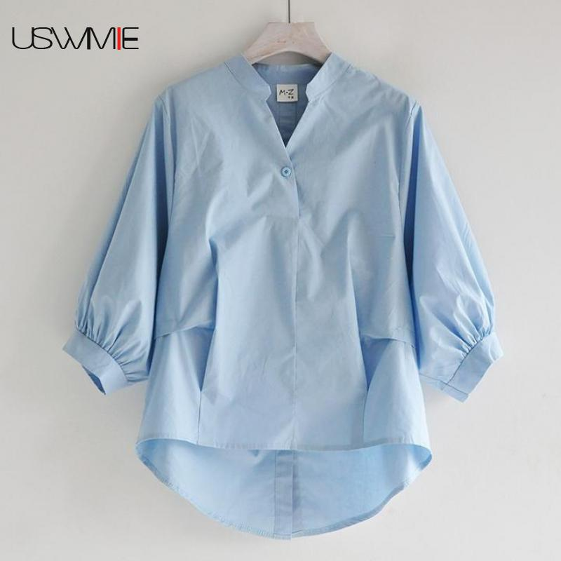 Womens Tops And Blouses Korean Fashion Lantern Sleeve Irregular Solid Color Casual Three Quarter Sleeve Ladies Plus Size Women