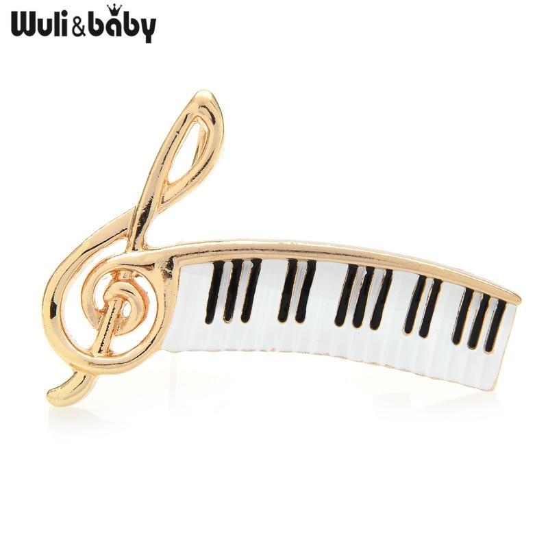 Wuli&baby Enamel Brooch Treble Clef with Piano Keys