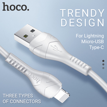 hoco charging cable for lightning Micro USB C Type 2.4A data sync wire 1m PVC durable charger adapter iPhone Android phone