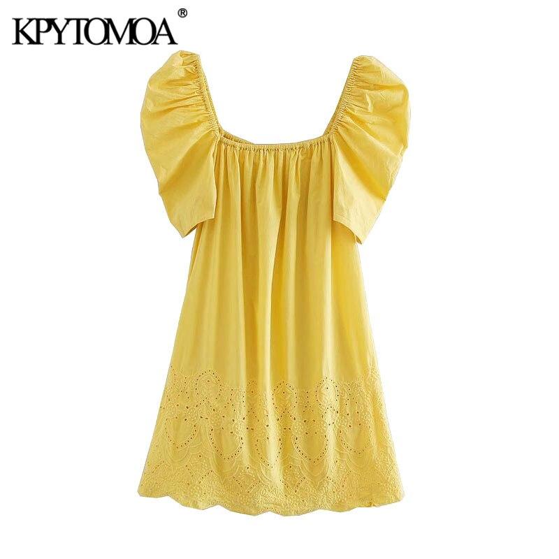 KPYTOMOA Women 2020 Sweet Fashion Cutwork Embroidery Mini Dress Vintage Puff Sleeve Side Pockets Female Dresses Vestidos Mujer