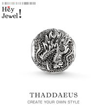 Beads Dragon's Head, Silver Zirconia Beads Fits Bracelet Thomas Necklace Karma Charms European Jewelry Accessories(China)
