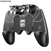 Controle pubg de seis dedos para jogos, joystick com tiro livre e controlador de jogos, gatilho de metal, para celular