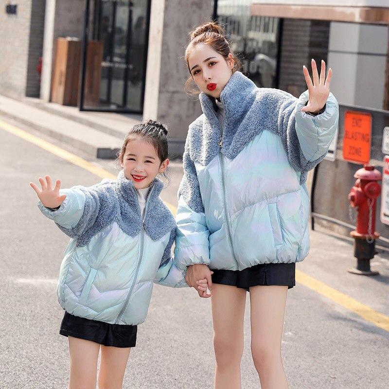 WLG одежда для всей семьи зимняя Для мамы и дочки розовый цвет небесно-синий толстые теплые парки с изображением Минни