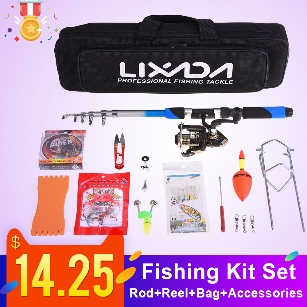 Lixada Hook Fishing-Pole-Rod-Set Telescopic Spinning Baits
