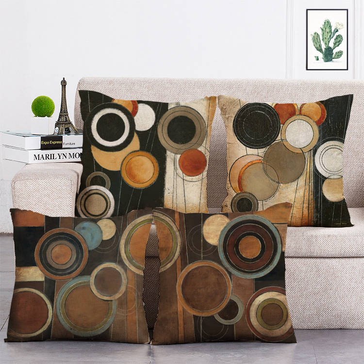 Geometric Brown round pillow cover home decoration 45*45 cm cushion cover microfiber soft and comfortable pillow case T10