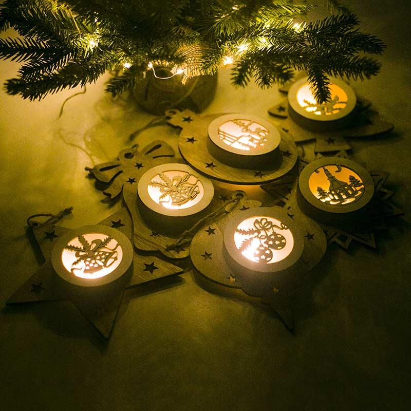 Светящиеся украшения для новогодней елки, деревянный полый светильник, рождественское подвесное украшение, рождественские праздничные ве... - 5