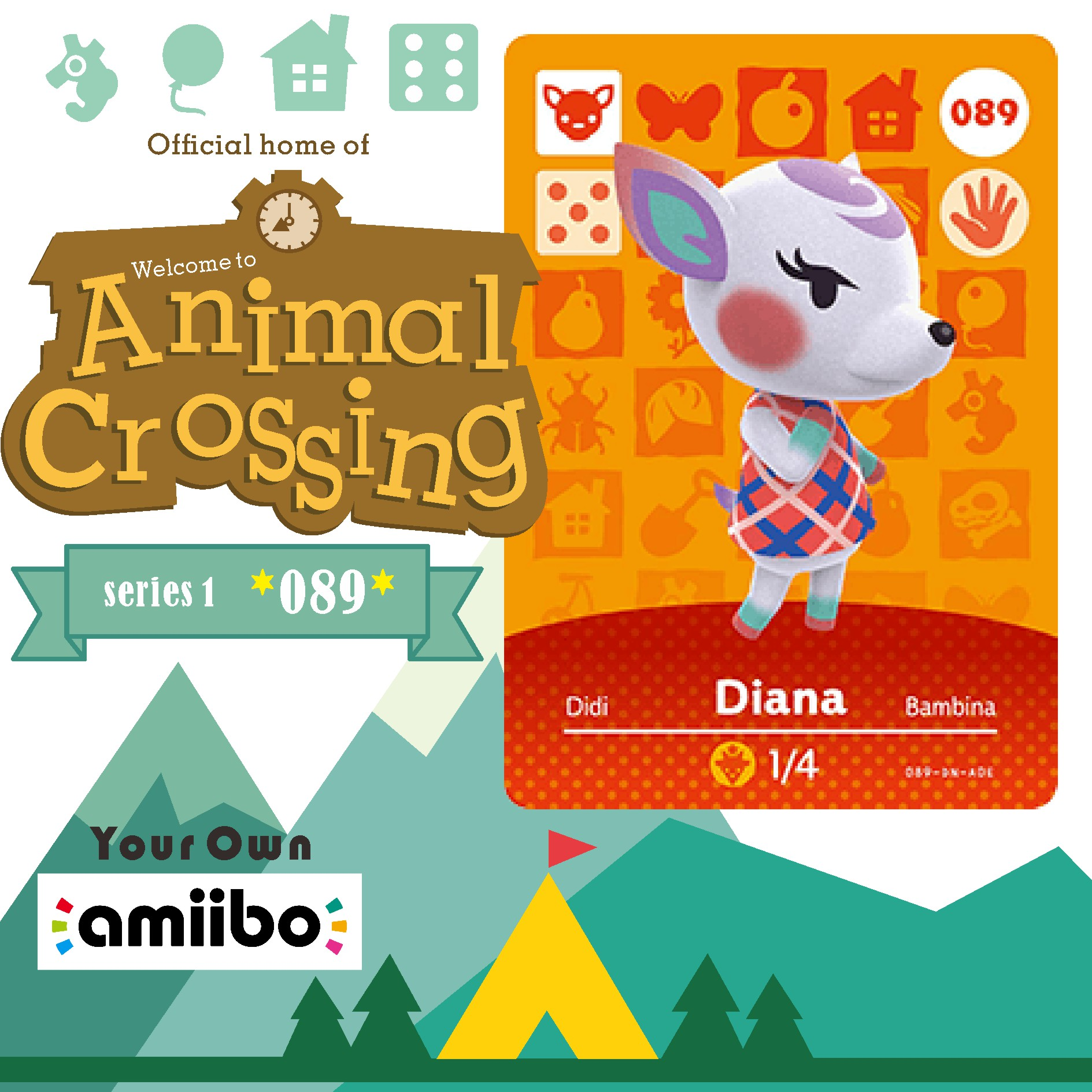 New 089 <font><b>Amiibo</b></font> Animal Crossing Diana Animal Crossing <font><b>Amiibo</b></font> Diana Villager <font><b>Amiibo</b></font> <font><b>Card</b></font> New Horizons <font><b>NFC</b></font> <font><b>Card</b></font> for Nintendo <font><b>Switch</b></font> image