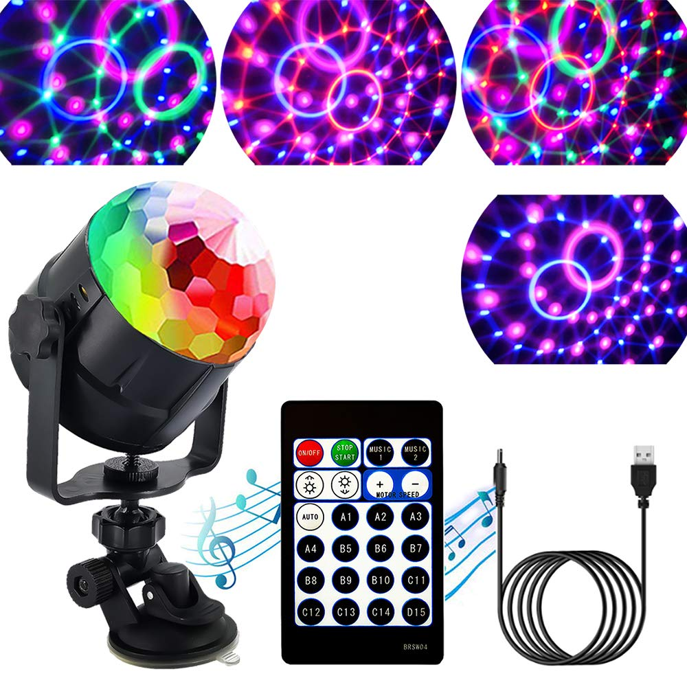15 Colors LED Stage Light Crystal Magic Ball Light Remote Control Mini Stage Light Laser DJ Light New Year Party Club Decoration