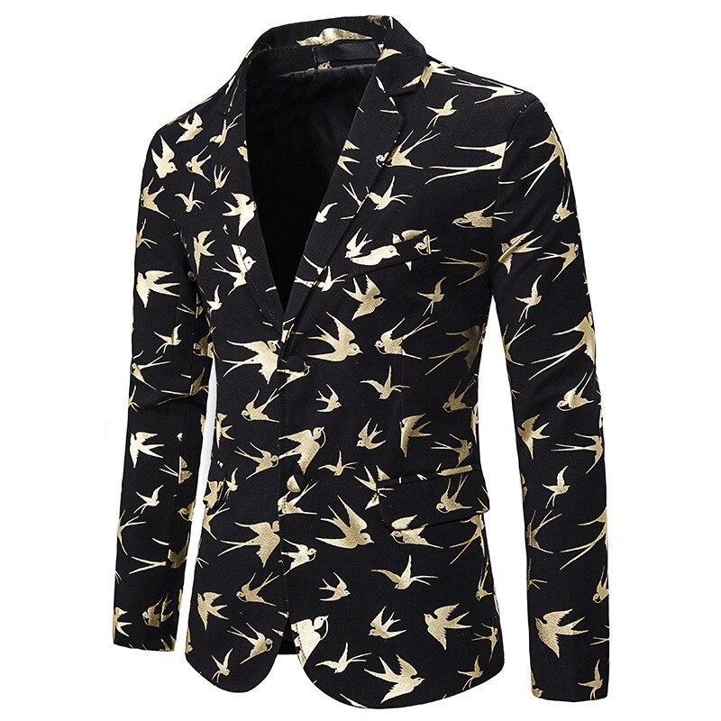 Fashion Blazer Men Luxury Gold Bird Bronzing Print Suit Jacket Men Wedding Tuxedo Blazer Stage Singer Costumes Terno Masculino