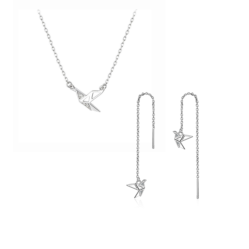 ANENJERY Simple S925 Stamp Silver Color Paper Crane Necklace+Earrings Long Ear Chain Jewelry Sets For Women Gift