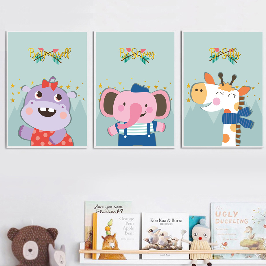 Fox Squirrel Elephant Giraffe Lion Hippo Nordic Posters And Prints Wall Art Canvas Painting Animal Wall Pictures Kids Room Decor in Painting Calligraphy from Home Garden