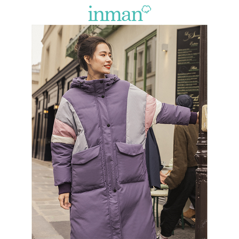 INMAN 2019 Winter New Arrival Fashion Sport Style Stand Up Collar Hooded Split Color Women Long Down Coat