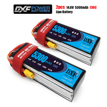 DXF 4S 14.8V 5300mah 130C-260C Lipo Battery 4S XT60 T Deans XT90 EC5 50C For Racing FPV Drone Airplanes Off-Road Car Boats