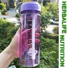 1Л/1000 мл классический и дизайн фиолетовый, серый, розовый, зеленый добавки herbalife Спортивная космическая соломенная бутылка для воды с крышкой деление шкалы