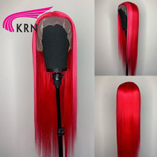 Perruque Lace Front wig Remy naturelle, cheveux lisses, rose, rouge, 13x4, avec Baby HaIr, pour femmes