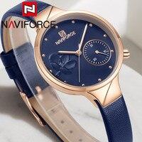 NAVIFORCE-Reloj de pulsera para mujer, dorado, azul, clásico, de cuero genuino, 5001