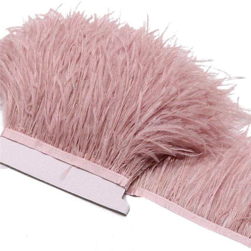 Кожаные розовые обрезки страусовых перьев 8-10 см, сделай сам, перышки для рукоделия, карнавальный костюм, свадебное украшение шлейф, 2 ярда в ...