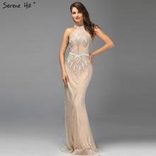 2020 Champagne Dubai Design Sleeveless Evening Dresses Off Shoulder Beading Evening Gowns Serene Hill LA60850