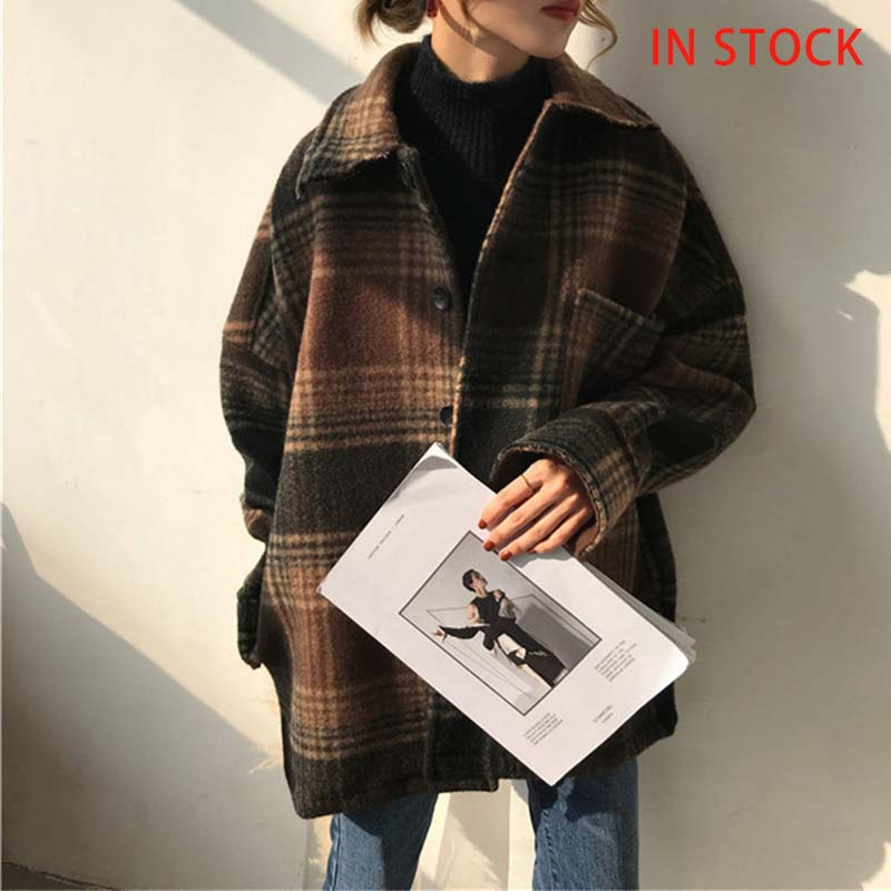 Women's Spring Plaid Wool Blends Vintage Coat Jacket Check Batwing Sleeve Korean Woman Coats 2020 Autumn Pocket Outerwear Ladies