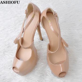 ASHIOFU Handmade Real Photos Ladies High Heel Pumps X-straps Peep-toe Party Dress Shoes Platform Evening Club Fashion CourtShoes